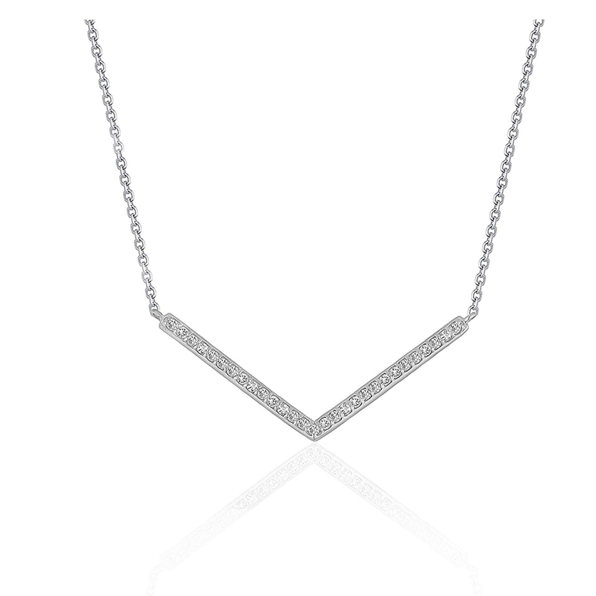 Diamond Chevron Pendant in 14k White Gold (1/3 cttw)