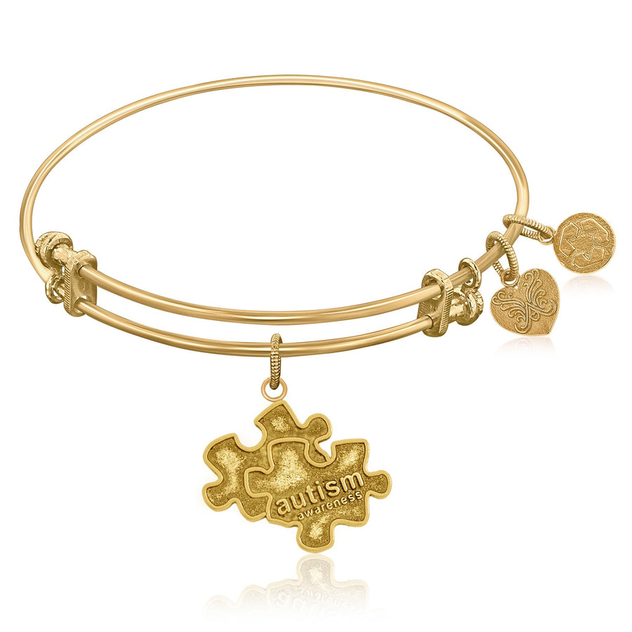 Expandable Bangle in Yellow Tone Brass with Autism Awareness Symbol