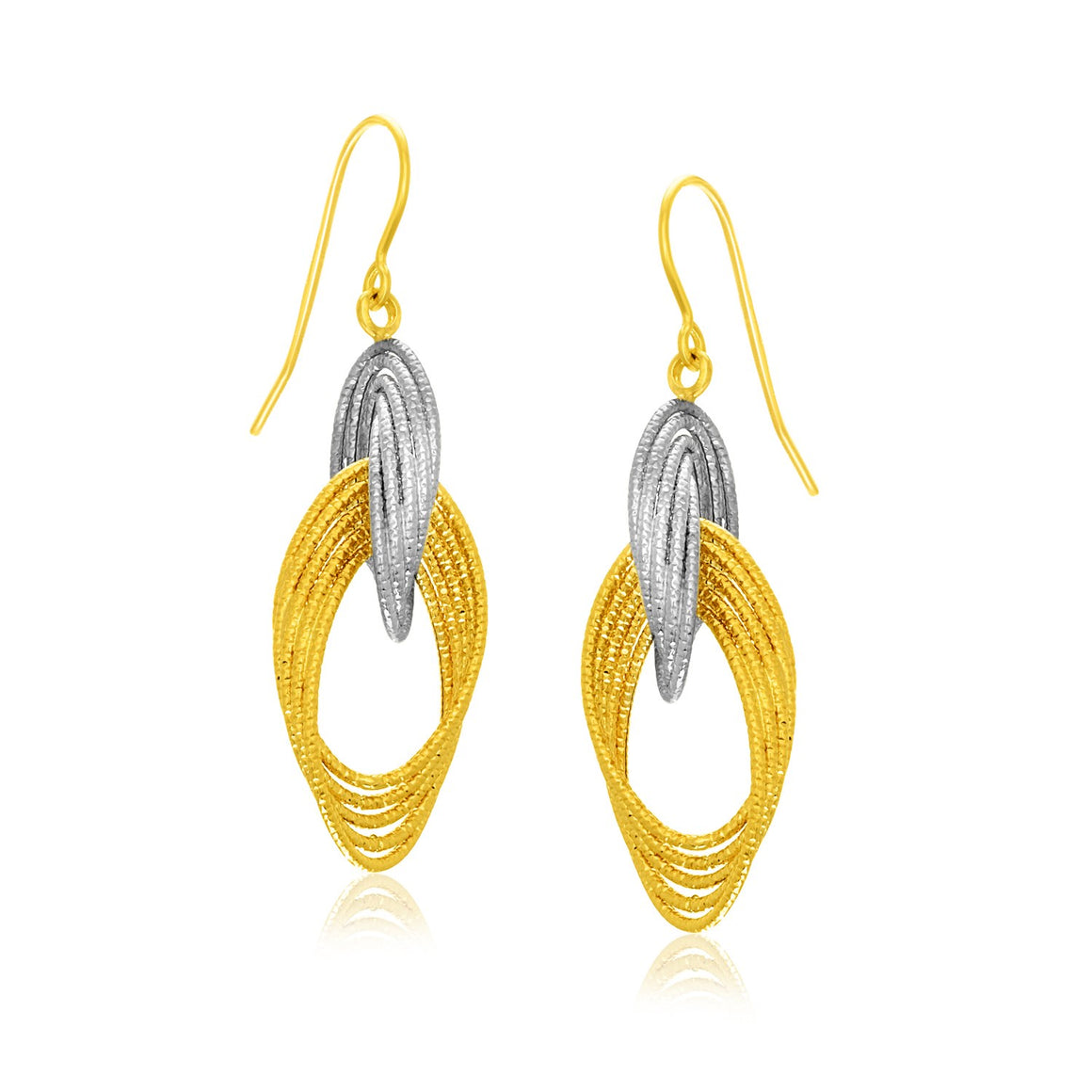14k Two-Tone Gold Interlaced Multiple Row Earrings
