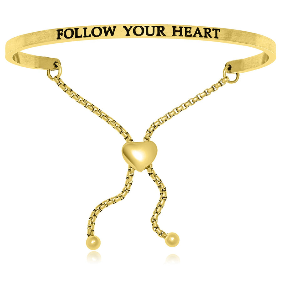 Yellow Stainless Steel Follow Your Heart Adjustable Bracelet