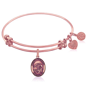 Expandable Pink Tone Brass Bangle with St. Michael Symbol
