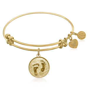 Expandable Bangle in Yellow Tone Brass with Barefoot In The Sand Symbol