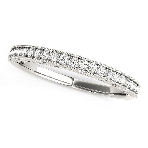 14k White Gold Milgrain Bordered Round Diamond Wedding Band (1/6 cttw)