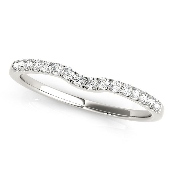 14k White Gold Curved Pave Setting Diamond Wedding Ring (1/8 cttw)