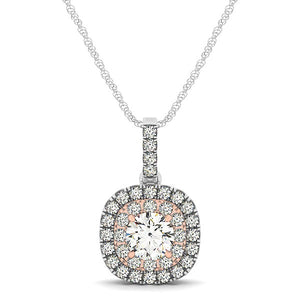 14k White And Rose Gold Cushion Shape Halo Diamond Pendant (1/2 cttw)