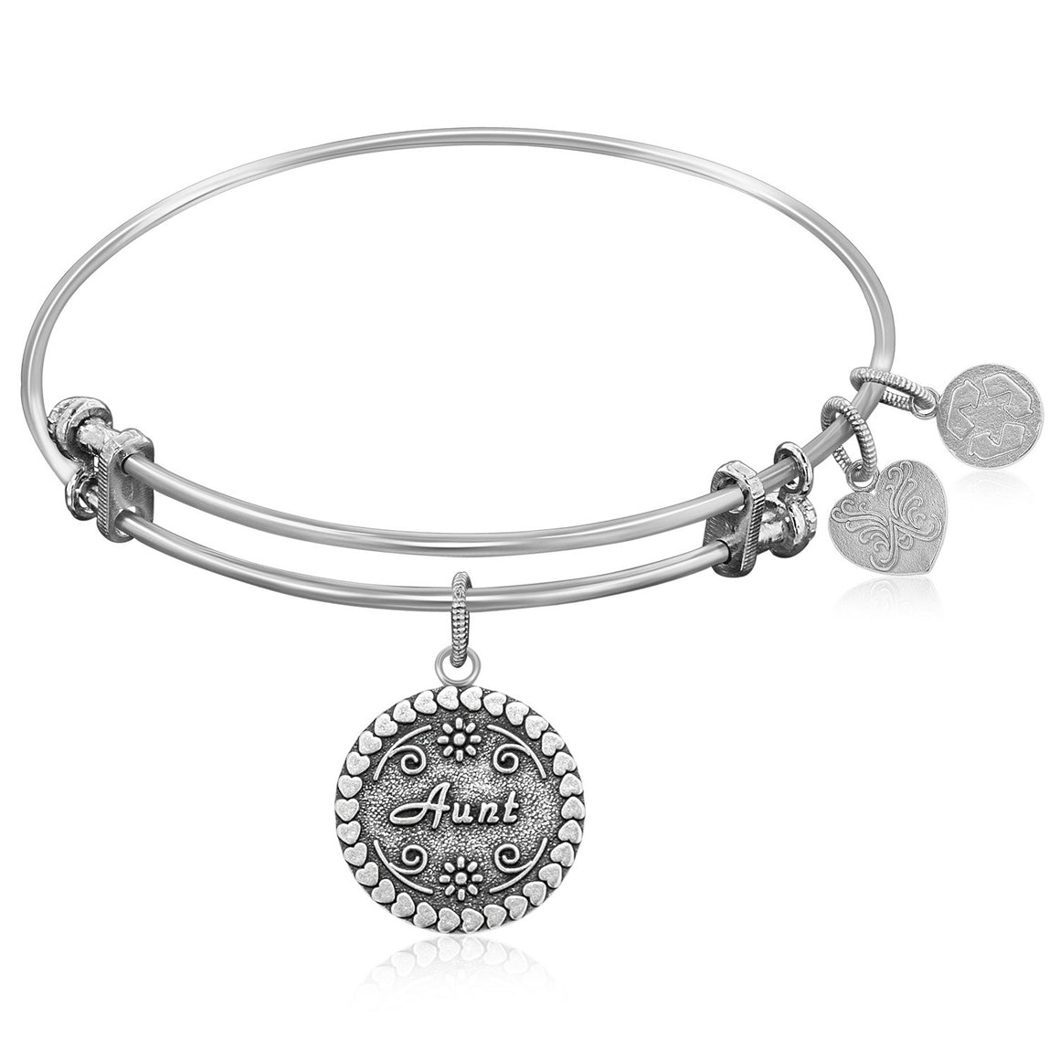 Expandable Bangle in White Tone Brass with Aunt Symbol