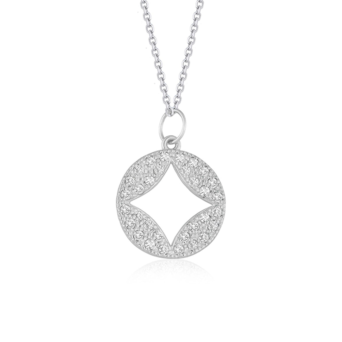 14k White Gold Diamond Studded Circle Pendant with Cut-out (1/3 cttw)