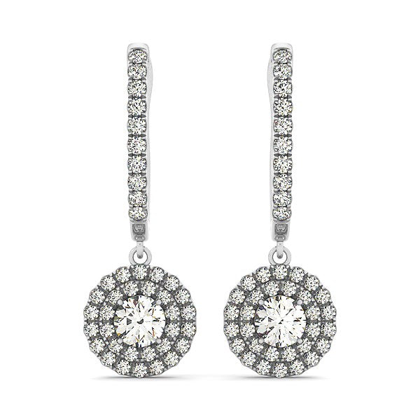 14k White Gold Double Halo Round Diamond Drop Earrings (1 cttw)