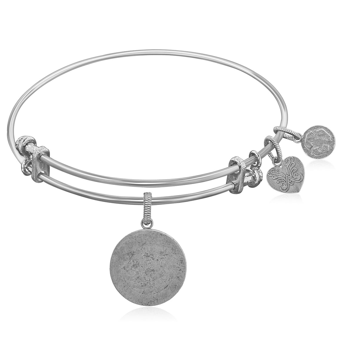 Expandable White Tone Brass Bangle with Round Engravable Symbol
