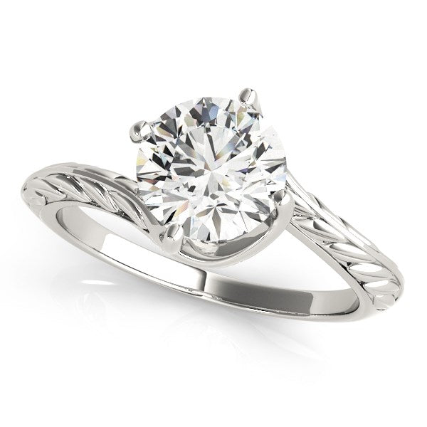 14k White Gold Bypass Round Solitaire Diamond Engagement Ring (1 cttw)