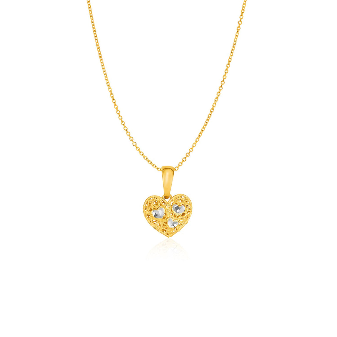 Filigree Style Reversible Heart Pendant in 14k Yellow Gold