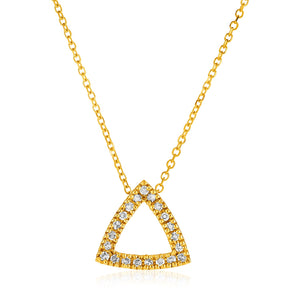 14k Yellow Gold Necklace with Gold and Diamond Triangle Pendant (1/10 cttw)