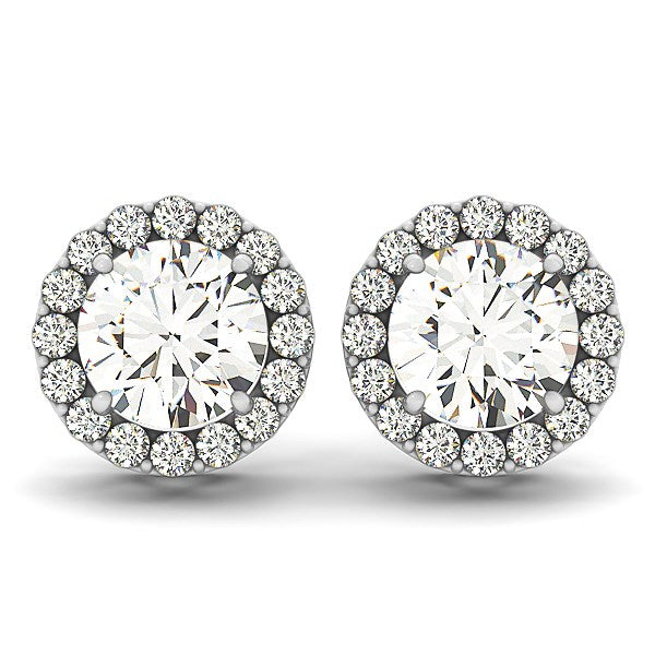 14k White Gold Four Prong Round Halo Diamond Earrings (1 1/6 cttw)