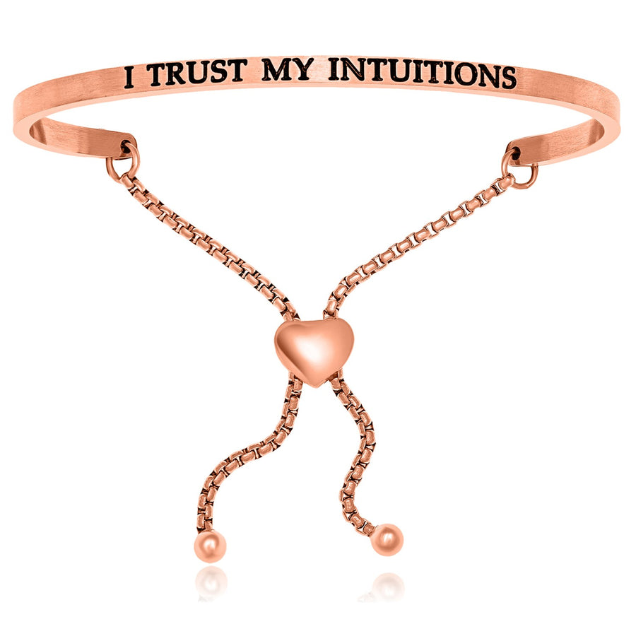 Pink Stainless Steel I Trust My Intuitions Adjustable Bracelet