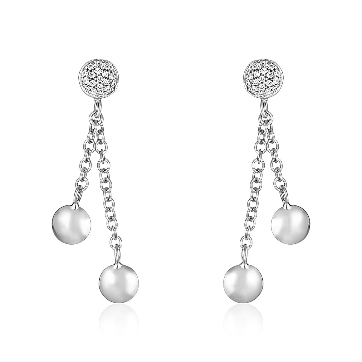 14k White Gold and Diamond Puff Circle Dangle Earrings (1/5 cttw)