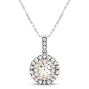 Round Shape Halo Diamond Pendant in 14k White and Rose Gold (1/2 cttw)