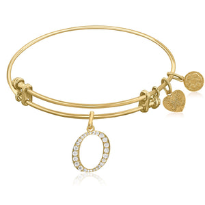 Expandable Yellow Tone Brass Bangle with O Symbol with Cubic Zirconia