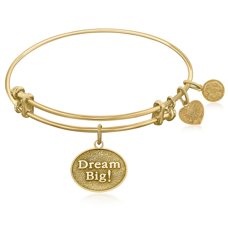 Expandable Bangle in Yellow Tone Brass with Dream Big Symbol
