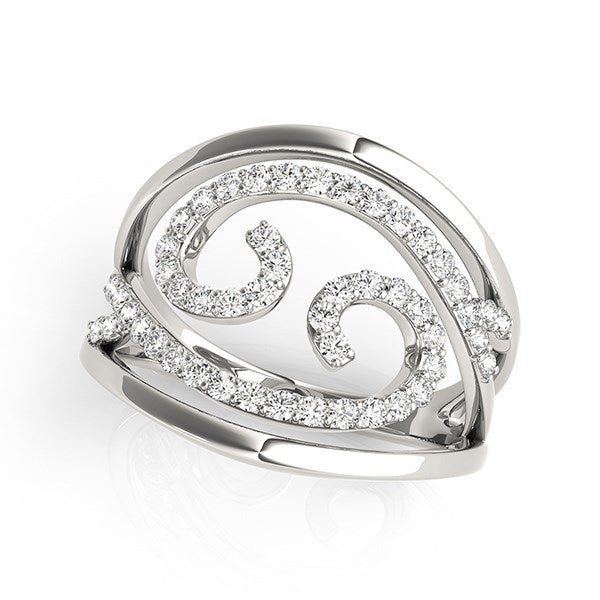 Swirl Design Diamond Ring in 14k White Gold (1/2 cttw)