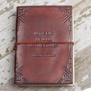 """We All Become Stories"" Handmade Leather Journal"