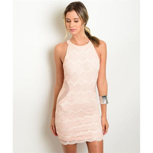 Women's Lace Sleeveless Pink Cocktail Dress