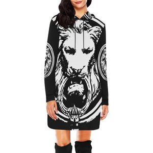 Womens Lion hoodie Dress Black