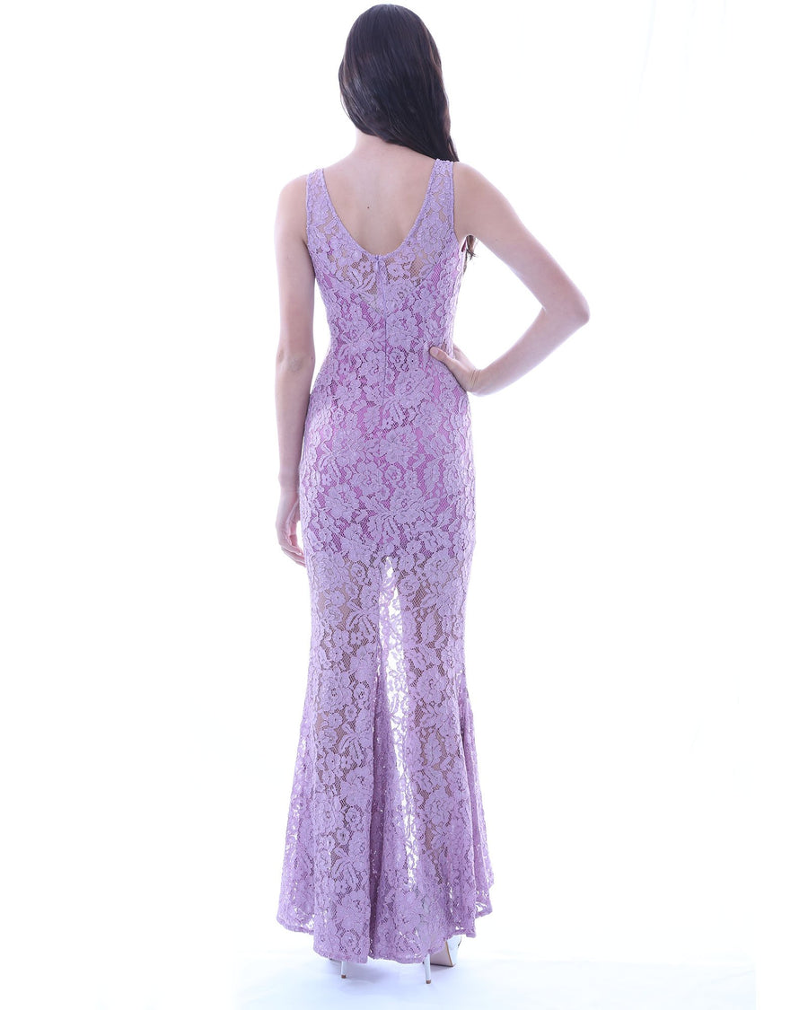 Lace Evening Dress w/ Split (Lavender)