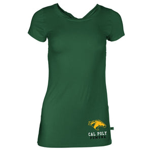 Official NCAA California State Polytechnic University Broncos Cal Poly Billy Bronco Women's Short Sleeve Twist Back T-Sh