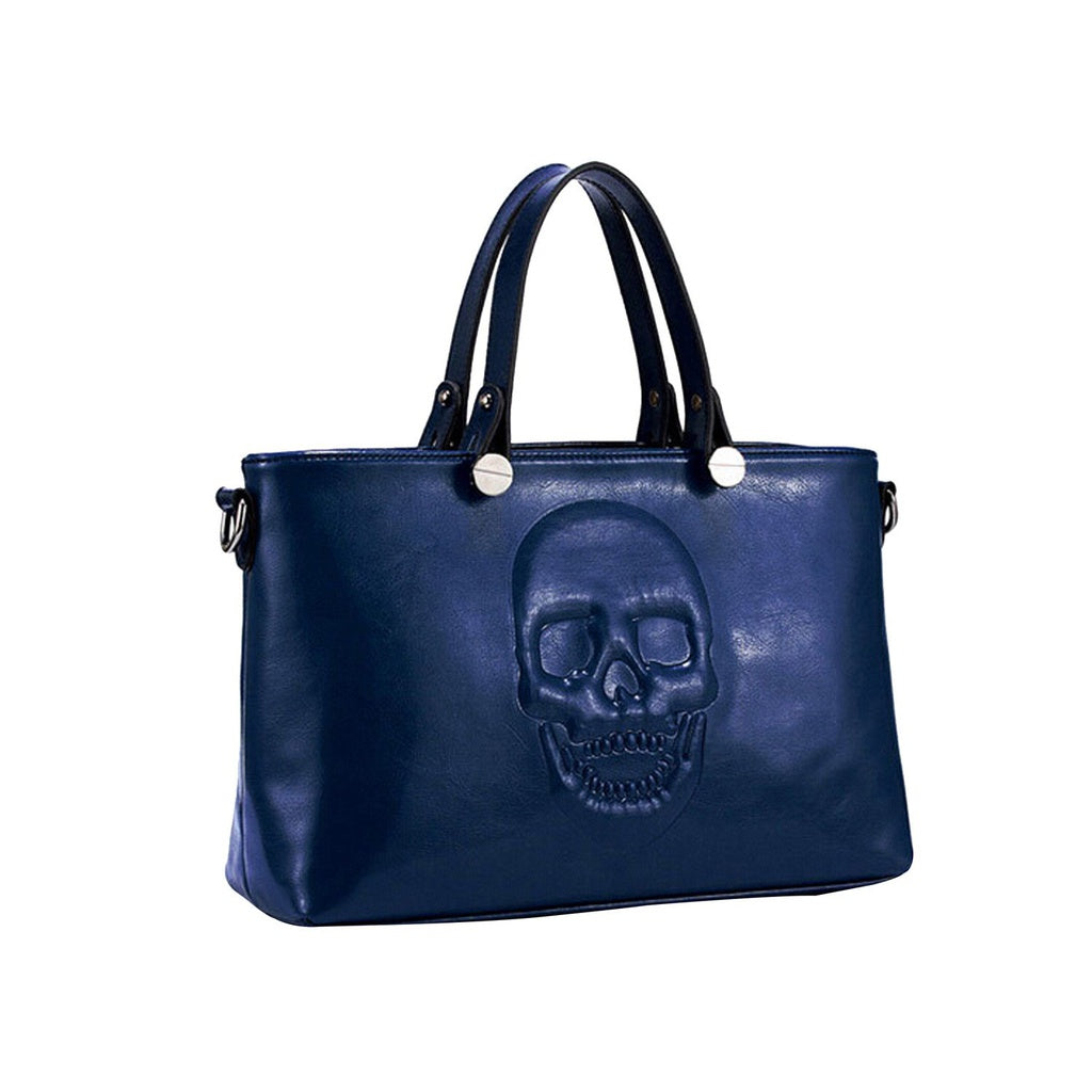 Mechaly Women's Skully Blue Vegan Leather Skull Handbag