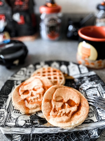 Haunted House Cat's Vegan Skull Waffles