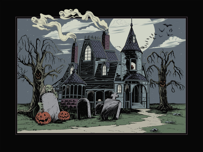 Haunted House Art Print-Autumn Version