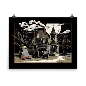 Haunted House Art Print- Midnight Version