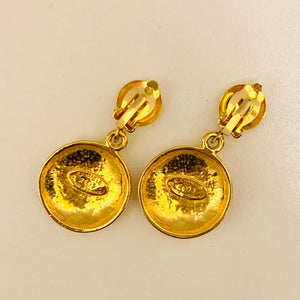Vintage Chanel CC gold plated earrings