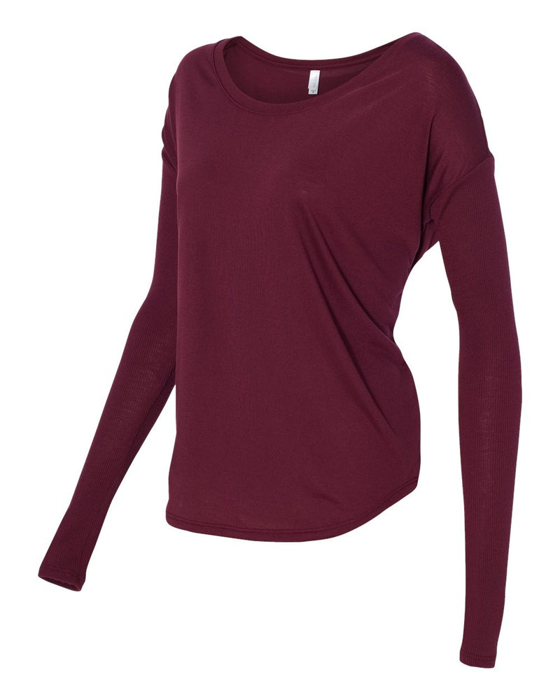Women's Flowy Long Sleeve Tee with 2x1 Sleeves