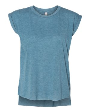 Women's Flowy Muscle Tee with Rolled Cuffs