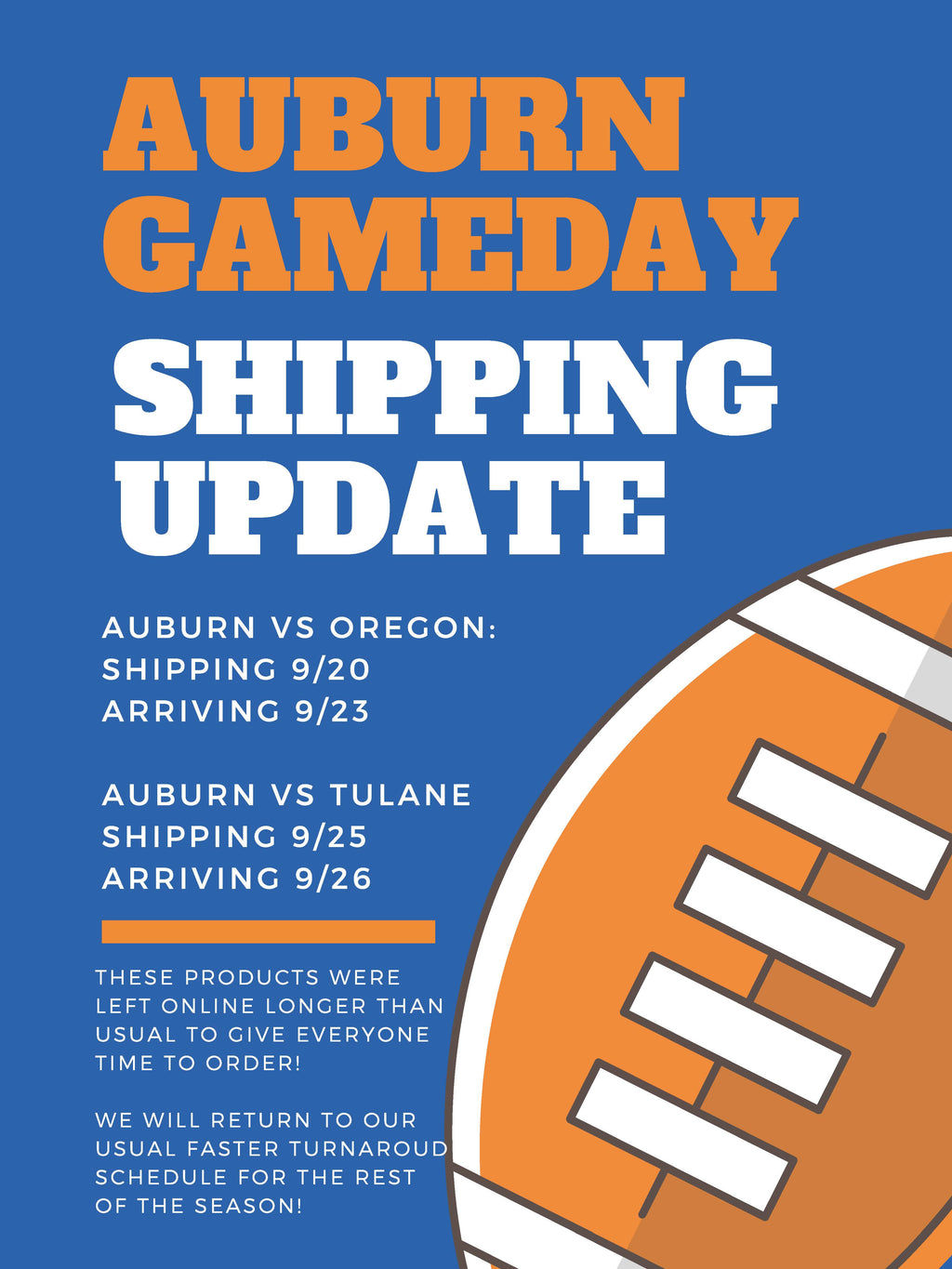 Auburn Gameday Shipping Schedule