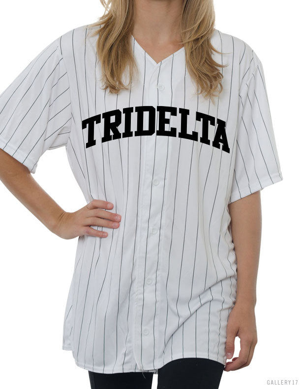 Pinstripe Full Button Baseball Jersey