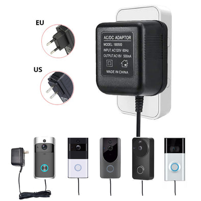 18V AC/DC 5 Meter Power Adapter for HD 720P Wireless Doorbell Camera 110V-240V Input