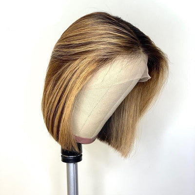 Short Bob Ombre 4/27 Color Human Hair Wigs - NAZODA