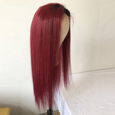 99J Long Straight Lace Front Human Hair Wigs