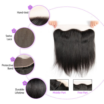 Virgin Hair Straight Bundles With HD Lace Frontal