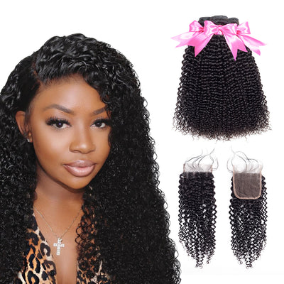 Virgin Hair Mongolian Kinky Curly Bundles With Closure