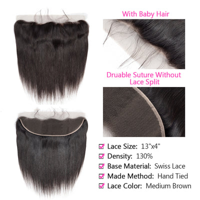 Virgin Hair Straight Bundles With Frontal
