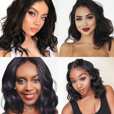 Short Body Wave 13x4 Lace Front Human Hair Wigs - NAZODA