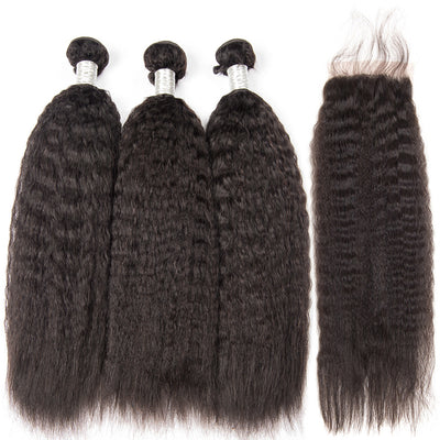 Virgin Hair Kinky Straight Bundles With Closure - NAZODA