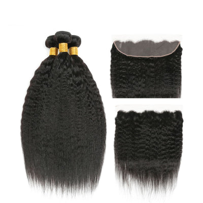 Virgin Hair Kinky Straight Bundles With Frontal - NAZODA
