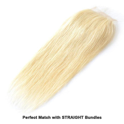 Virgin Human Hair Blonde #613 Straight 4x4 Lace Closure