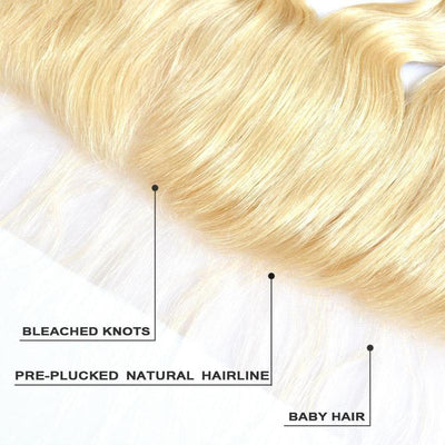 Virgin Human Hair Blonde #613 Body Wave 13x4 Lace Frontal