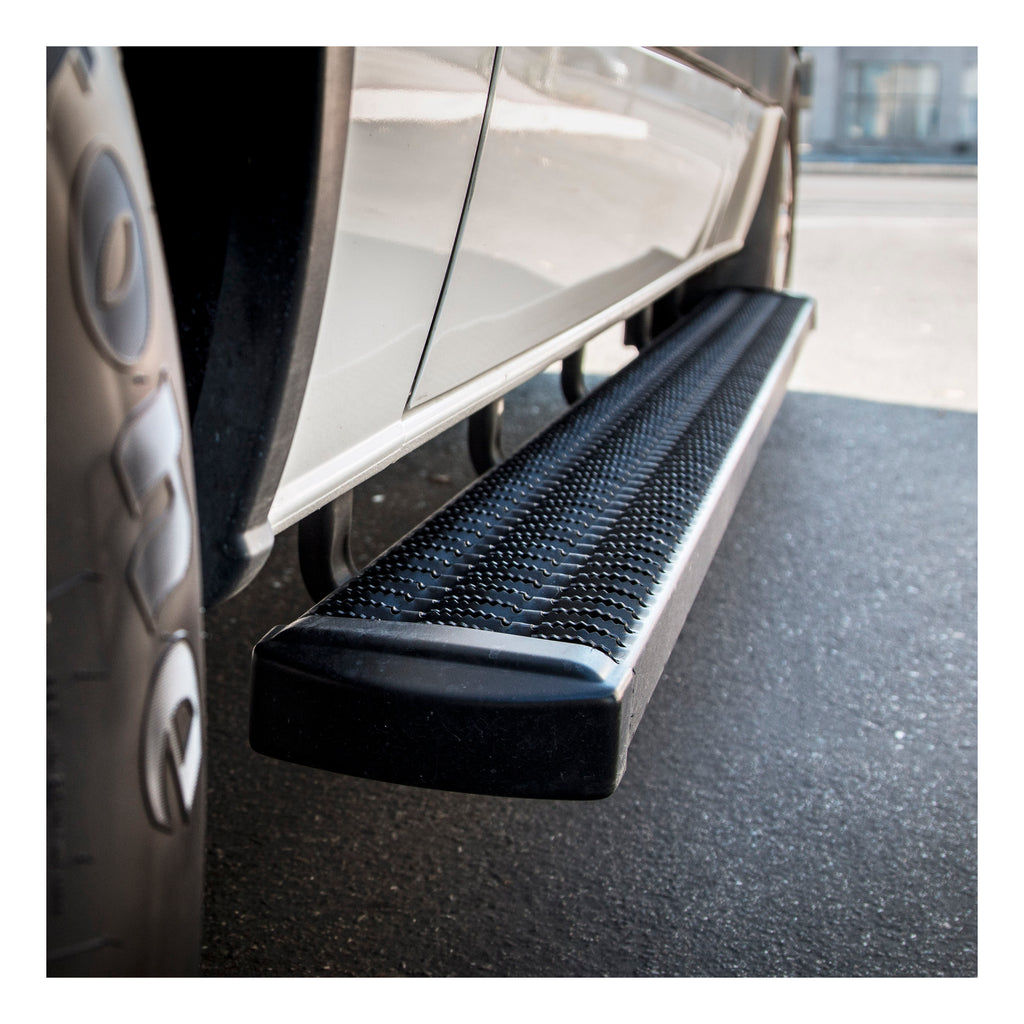 "Grip Step 7"" x 98"" Black Aluminum Running Boards, Select Ford E-Series"