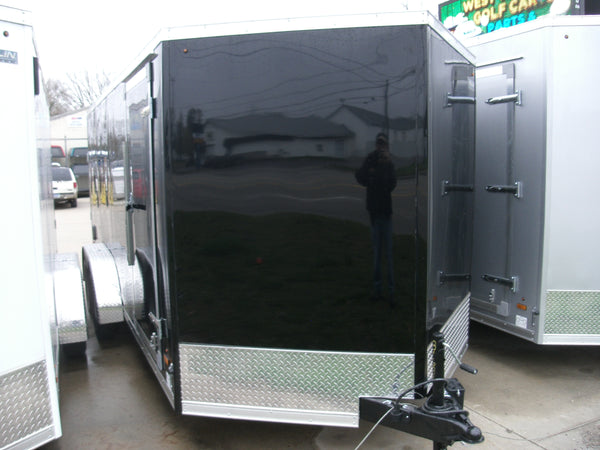 Cargo Trailer 7 x 14  Tandem Axle  Black or White with Access Side Door and Ramp Door